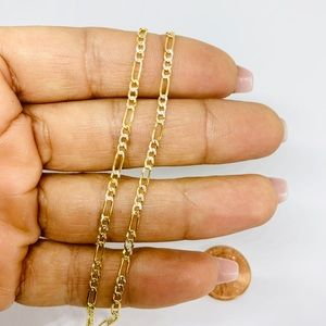 Real 10k Solid Multi-tone Gold Necklace Women's